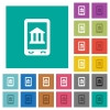 Mobile banking square flat multi colored icons - Mobile banking multi colored flat icons on plain square backgrounds. Included white and darker icon variations for hover or active effects.
