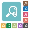 Unlock search rounded square flat icons - Unlock search white flat icons on color rounded square backgrounds