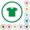 T-shirt flat icons with outlines - T-shirt flat color icons in round outlines on white background