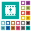 Upload movie square flat multi colored icons - Upload movie multi colored flat icons on plain square backgrounds. Included white and darker icon variations for hover or active effects.