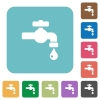 Water faucet with water drop rounded square flat icons - Water faucet with water drop white flat icons on color rounded square backgrounds