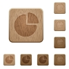Pie chart wooden buttons - Pie chart on rounded square carved wooden button styles