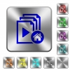 Default playlist rounded square steel buttons - Default playlist engraved icons on rounded square glossy steel buttons