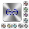 Eyeglasses rounded square steel buttons - Eyeglasses engraved icons on rounded square glossy steel buttons