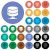 Network database round flat multi colored icons - Network database multi colored flat icons on round backgrounds. Included white, light and dark icon variations for hover and active status effects, and bonus shades on black backgounds.