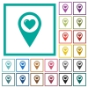 Favorite GPS map location flat color icons with quadrant frames - Favorite GPS map location flat color icons with quadrant frames on white background