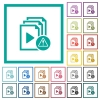 Playlist warning flat color icons with quadrant frames - Playlist warning flat color icons with quadrant frames on white background