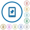 Mobile pin data icons with shadows and outlines - Mobile pin data flat color vector icons with shadows in round outlines on white background