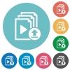 Upload playlist flat round icons - Upload playlist flat white icons on round color backgrounds