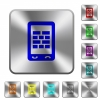 Mobile firewall rounded square steel buttons - Mobile firewall engraved icons on rounded square glossy steel buttons
