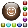 Smiling emoticon color glass buttons - Smiling emoticon white icons on round color glass buttons