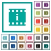Movie information flat color icons with quadrant frames - Movie information flat color icons with quadrant frames on white background