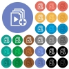Add new item to playlist round flat multi colored icons - Add new item to playlist multi colored flat icons on round backgrounds. Included white, light and dark icon variations for hover and active status effects, and bonus shades on black backgounds.