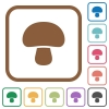 Mushroom simple icons - Mushroom simple icons in color rounded square frames on white background