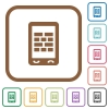 Mobile firewall simple icons - Mobile firewall simple icons in color rounded square frames on white background