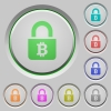 Locked Bitcoins push buttons - Locked Bitcoins color icons on sunk push buttons