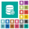 Disabled database multi colored flat icons on plain square backgrounds. Included white and darker icon variations for hover or active effects. - Disabled database square flat multi colored icons