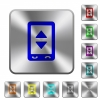 Mobile adjust settings rounded square steel buttons - Mobile adjust settings engraved icons on rounded square glossy steel buttons