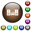 Stereo system color glass buttons - Stereo system white icons on round color glass buttons