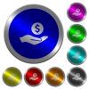 Dollar earnings luminous coin-like round color buttons - Dollar earnings icons on round luminous coin-like color steel buttons