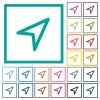Direction arrow flat color icons with quadrant frames - Direction arrow flat color icons with quadrant frames on white background