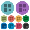 Component fast backward darker flat icons on color round background - Component fast backward color darker flat icons