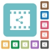 Share movie rounded square flat icons - Share movie white flat icons on color rounded square backgrounds