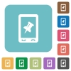 Mobile pin data rounded square flat icons - Mobile pin data white flat icons on color rounded square backgrounds