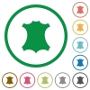 Genuine leather flat icons with outlines - Genuine leather flat color icons in round outlines on white background