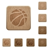 Basketball wooden buttons - Basketball on rounded square carved wooden button styles