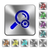 Search settings rounded square steel buttons - Search settings engraved icons on rounded square glossy steel buttons