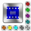 Movie controlling rounded square steel buttons - Movie controlling engraved icons on rounded square glossy steel buttons