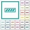 Progress bar flat color icons with quadrant frames on white background - Progress bar flat color icons with quadrant frames