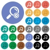 Search engine optimization round flat multi colored icons - Search engine optimization multi colored flat icons on round backgrounds. Included white, light and dark icon variations for hover and active status effects, and bonus shades on black backgounds.