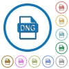 DNG file format icons with shadows and outlines - DNG file format flat color vector icons with shadows in round outlines on white background