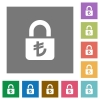 Locked lira square flat icons - Locked lira flat icons on simple color square backgrounds