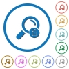 Unlock search icons with shadows and outlines - Unlock search flat color vector icons with shadows in round outlines on white background