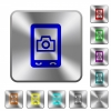 Mobile photography rounded square steel buttons - Mobile photography engraved icons on rounded square glossy steel buttons