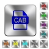 CAB file format rounded square steel buttons - CAB file format engraved icons on rounded square glossy steel buttons