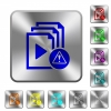 Playlist warning rounded square steel buttons - Playlist warning engraved icons on rounded square glossy steel buttons