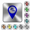 Route planning rounded square steel buttons - Route planning engraved icons on rounded square glossy steel buttons