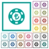 Turkish Lira casino chip flat color icons with quadrant frames - Turkish Lira casino chip flat color icons with quadrant frames on white background