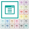 Application options flat color icons with quadrant frames - Application options flat color icons with quadrant frames on white background