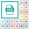 DEB file format flat color icons with quadrant frames - DEB file format flat color icons with quadrant frames on white background