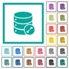 Expand database flat color icons with quadrant frames on white background - Expand database flat color icons with quadrant frames
