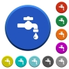 Water faucet with water drop beveled buttons - Water faucet with water drop round color beveled buttons with smooth surfaces and flat white icons