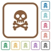 Skull with bones simple icons - Skull with bones simple icons in color rounded square frames on white background