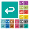 Back arrow square flat multi colored icons - Back arrow multi colored flat icons on plain square backgrounds. Included white and darker icon variations for hover or active effects.