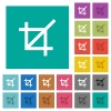 Crop tool square flat multi colored icons - Crop tool multi colored flat icons on plain square backgrounds. Included white and darker icon variations for hover or active effects.