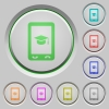 Mobile learning push buttons - Mobile learning color icons on sunk push buttons